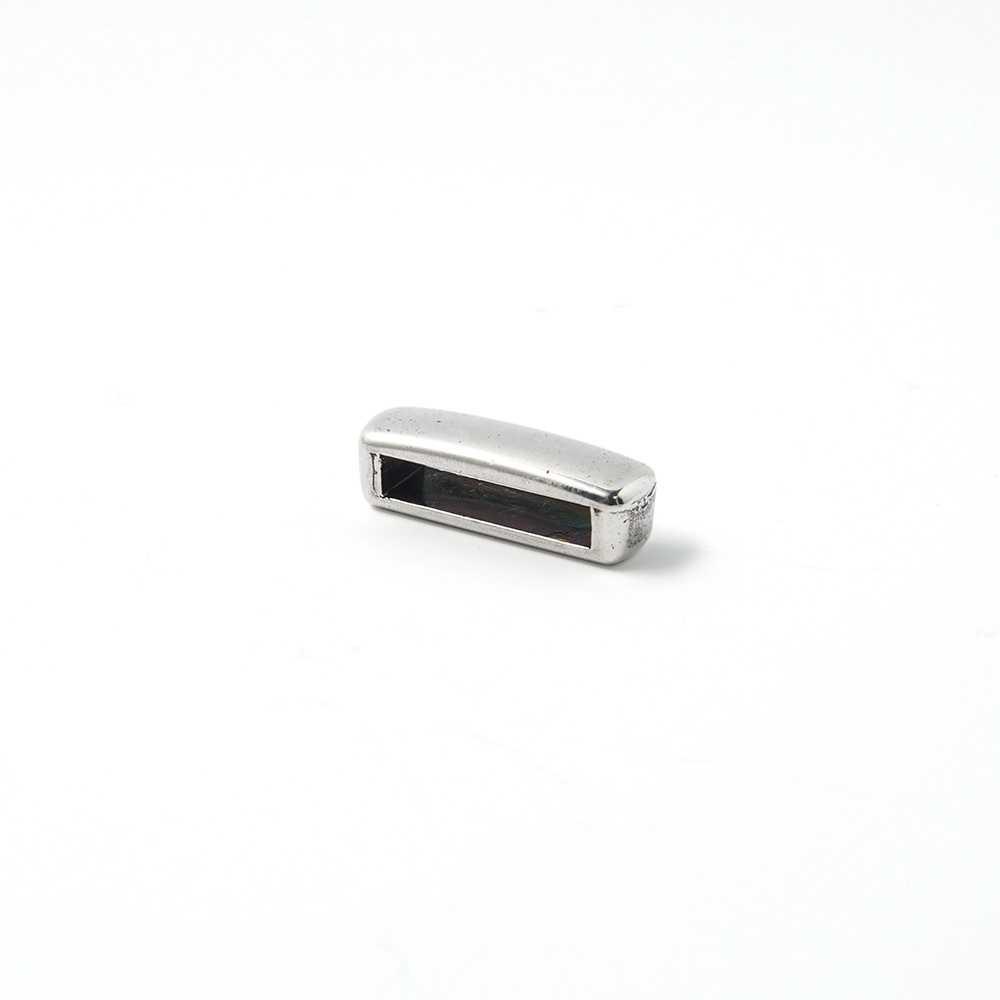 Entrepieza combada lisa, 13.5x2.5mm, plata óxido.