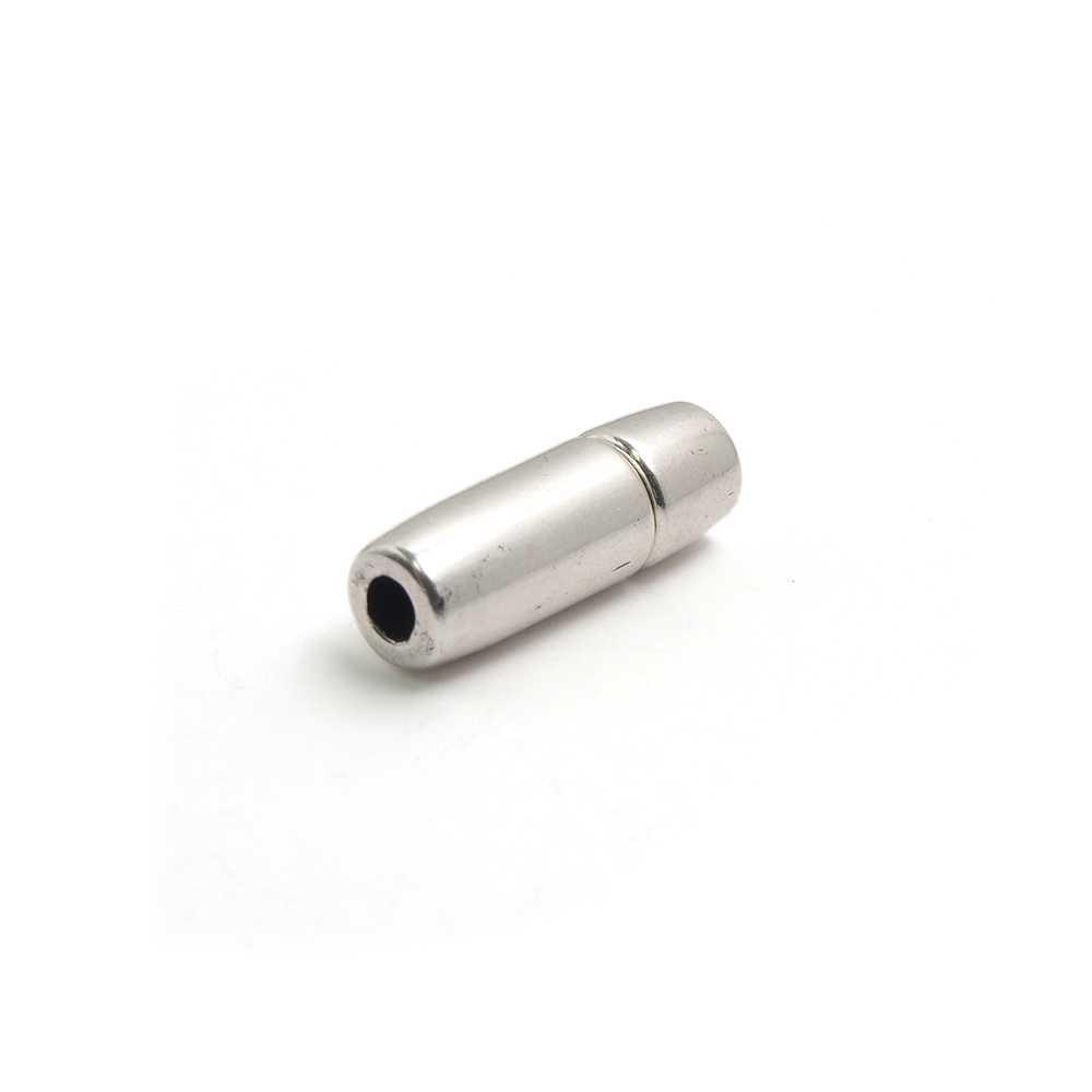 Cierre presión cilindro, hueco 3mm, plata óxido.
