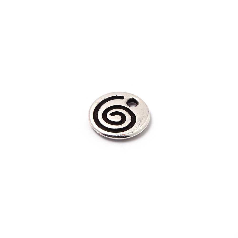 Medalla espiral, agujero 1.5mm, plata óxido.