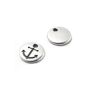 Abalorio Medalla Ancla, agujero 1.5mm, plata óxido.