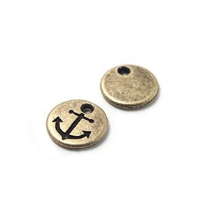 Abalorio Medalla Ancla, agujero 1.5mm, oro viejo.