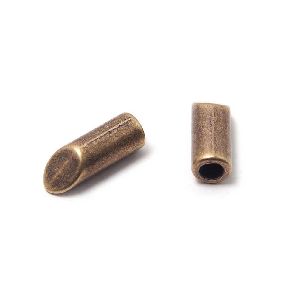 Terminal cilindro bisel, hueco 3mm, oro viejo.