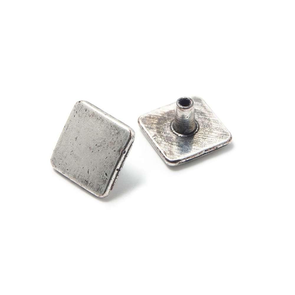 Tachuela Cuadrada Lisa, plata óxido. (Remache incluido.),