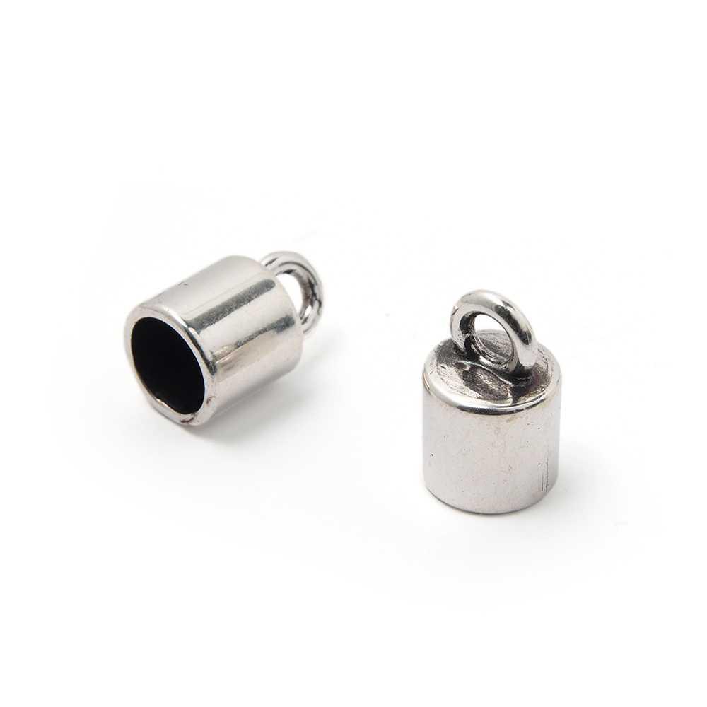 Terminal liso pequeño con argolla, 7.5mm, plata óxido.