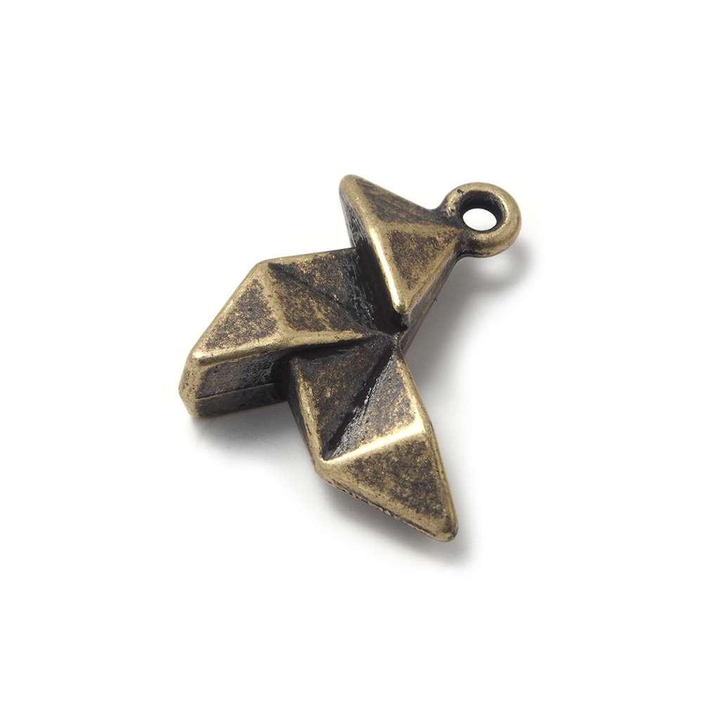 Abalorio Colgante Pajarita Origami, anilla 2mm, Oro viejo.