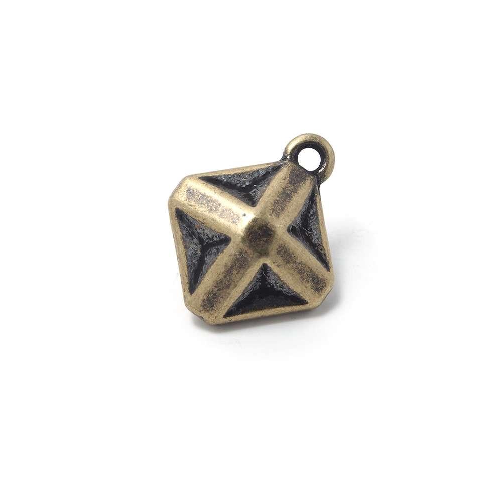 Abalorio Colgante Estrella Origami, anilla 2mm, Oro viejo.