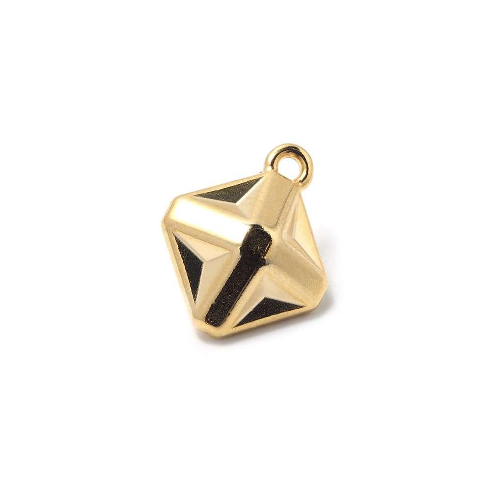 Abalorio Colgante Estrella Origami, anilla 2mm, Oro.