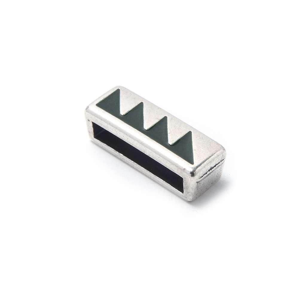 Entrepieza plana triángulos, 13.5x2.5mm, Lodem/Plata óxido.