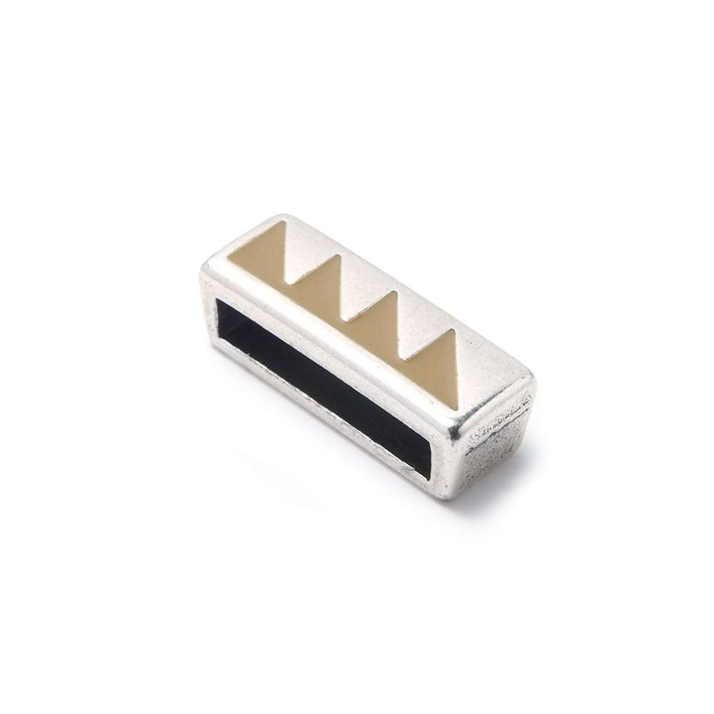 Entrepieza plana triángulos, 13.5x2.5mm, Camel/Plata óxido.