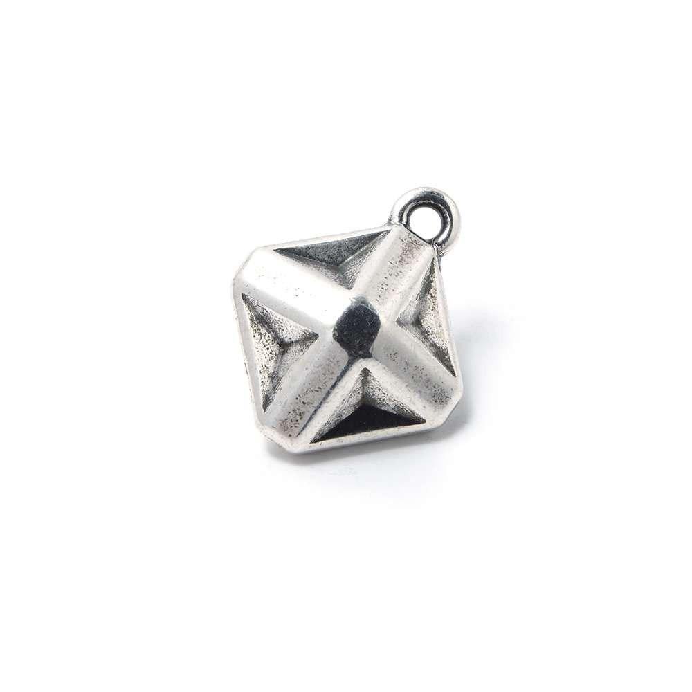 Abalorio Colgante Estrella Origami, anilla 2mm, plata óxido.