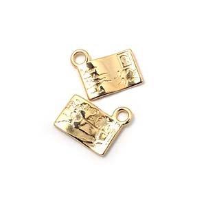 Abalorio colgante postal, anilla 2mm, oro.