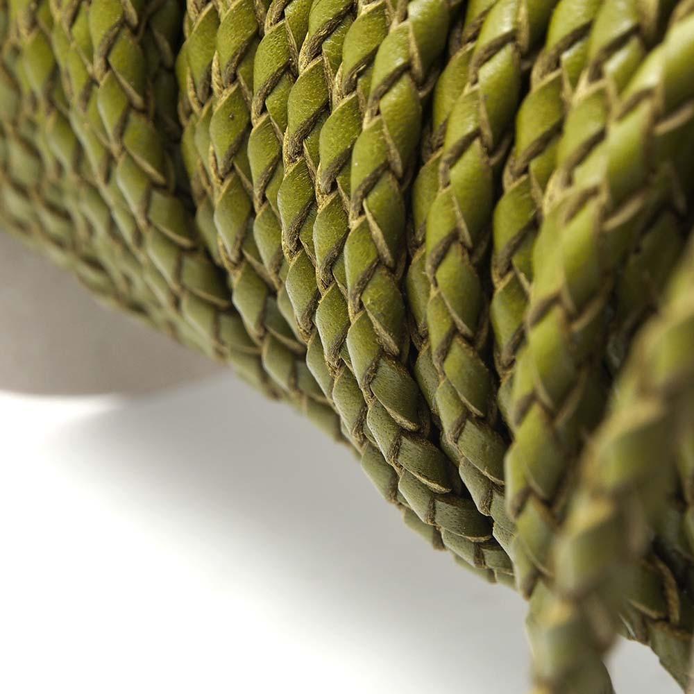 Cuero Redondo Trenzado 4.5mm, Verde (20cm) (PREMIUM).