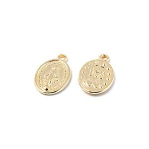 Abalorio Medalla Milagrosa, agujero 1.5mm, oro.